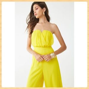 New Forever21 Strapless Chiffon Jumpsuit